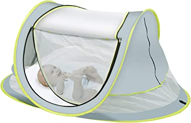 OBloved Baby Beach Tent, Large Portable Baby Travel Bed, UPF 50+ UV Protection Sun Shelters for Infant, Pop Up Folding Baby Travel Tent with Mosquito Net, Ultralight Sunshade with 2 Pegs