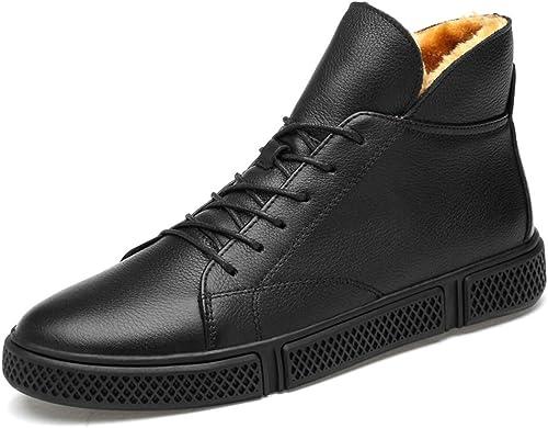 Bottes d'hiver de mode pour hommes occasionnels Faux Fleece à à l'intérieur de la grande botte haute (conventionnel en option) ,Chaussures de cricket ( Couleur   Warm noir , Taille   45 EU )  en ligne au meilleur prix