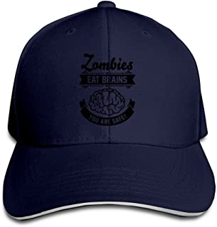 CHEDUCEA Zombies Eat Brains You Are Safe Men Contrast Baseball Cap Sandwich Peak