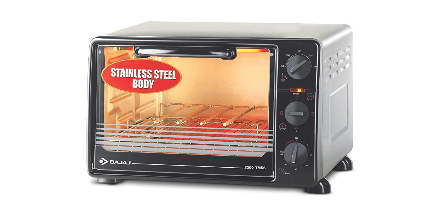 Bajaj 2200 TMSS 22 liters Oven Toaster Grill, Black, Silver