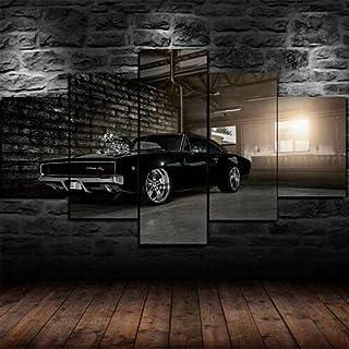 Yywife Cuadros Decoracion Salon Modernos 5 Piezas Lienzo Grandes XXL murales Pared hogar Pasillo Decor Arte Pared Abstracto Enmarcado Dodge Charger 1970 Muscle Car HD Impresión Foto Innovador Regalo