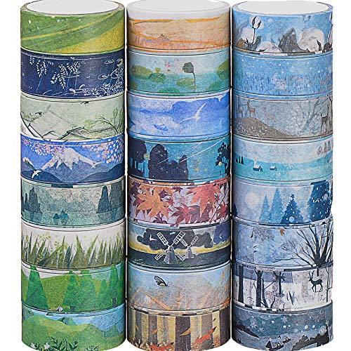 Kovano Washi Tape Set von 24, dekorative Masking Tape Collection,Verschiedene Jahreszeiten vorlagen - Klebeband für Scrapbooking