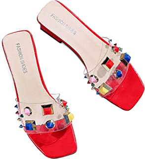 Nikduo Women Block Heel Sandals Open Toe Clear Transparent PVC Mid Heeled Mules with Colorful Rivets Design Ladies Sling-Back Slippers Chunky Pump