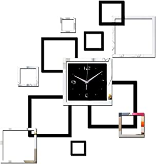 DIY Acrylic Square Wall Clock, Modern Acrylic Mirror Surface 3D Simple Wall Decor Clocks, Numbers Stickers Decorations, fo...