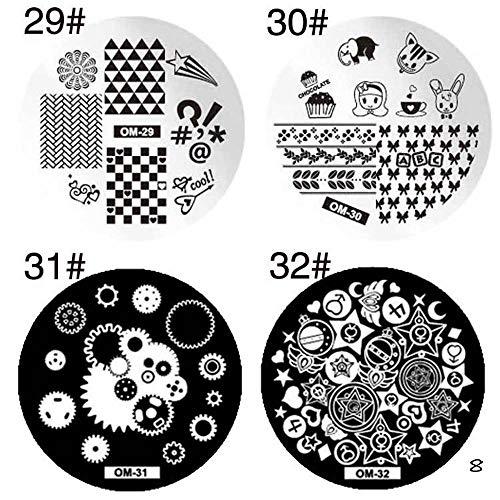 Roestvrij stalen nail stempelen drukplaat afbeelding ronde plaat manicure nail art DIY decoratie (set van 4) 8