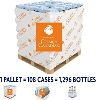 Clearly Canadian - Sparkling Spring Water Beverage - Pallet of 108 Cases - 1 Case = 12x (11 fl oz/325 ml) bottles - Product of Canada (Orchard Peach)