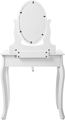 SONGMICS RDT004 Mobile da Trucco da Toeletta con Sgabello Comò con Specchio, 3 Cassetti, Bianco