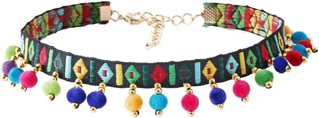 AMLESO Retro Embroidery Pom Japan Maker New Ball Thin Colla Pendant wholesale Necklace