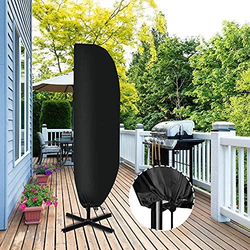 Sonnenschirm Schutzhülle Ampelschirm - Schutzhülle für Sonnenschirm mit Stab 2 bis 4 M Große Hülle Ampelschirm Wetterfeste UV-Anti Winddicht und Schneesicher, Sonnenschirm Abdeckung Wasserdicht (265)