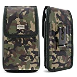 Evocel [Urban Pouch Camouflage Tactical Carrier with [Belt Loop & Holster] (6.1in x 3.1in x 0.37in) Fits Galaxy J7, Galaxy S7/ S6/ S5 Active, LG K20 Plus, LG Stylo 3, T-Mobile REVVL, More, Large