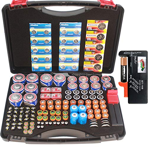 Hard Battery Organizer storage case with battery tester, Holding 130+ C, D, AA, AAA, AAAA, Cell, SF/CR123A, 18650, 4LR44, 9V, A23 Batteries(NO Batteries included)