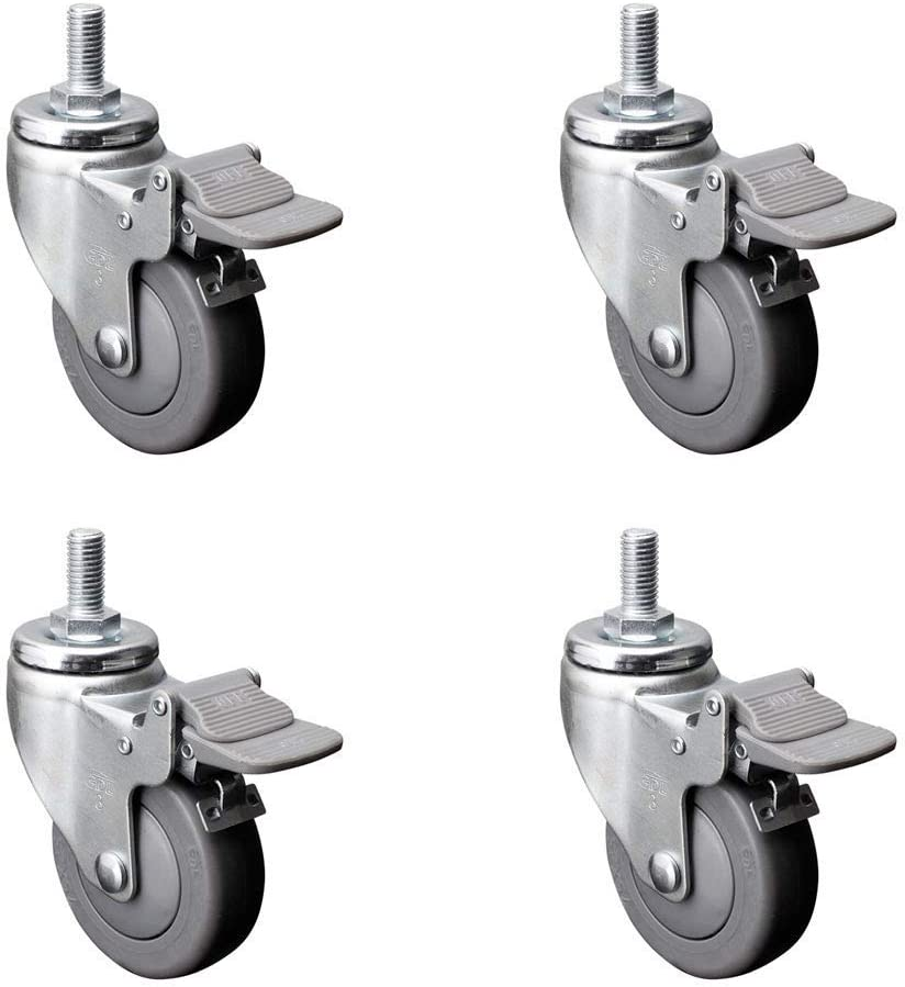 Furni. Color : A, Size : 2.5inch MEEY Caster 4 2.5 Inch Heavy Duty with Brakes Castor Thread Stem Castors Universal Wheel Quiet Scroll Replacement Cart