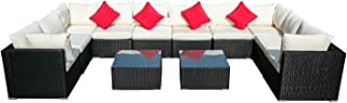 KOOLWOOM Outdoor Patio Furniture Set,Sectional Wicker Sofa Washable Waterproof PE Cushions,Backyard,Pool (12, White)