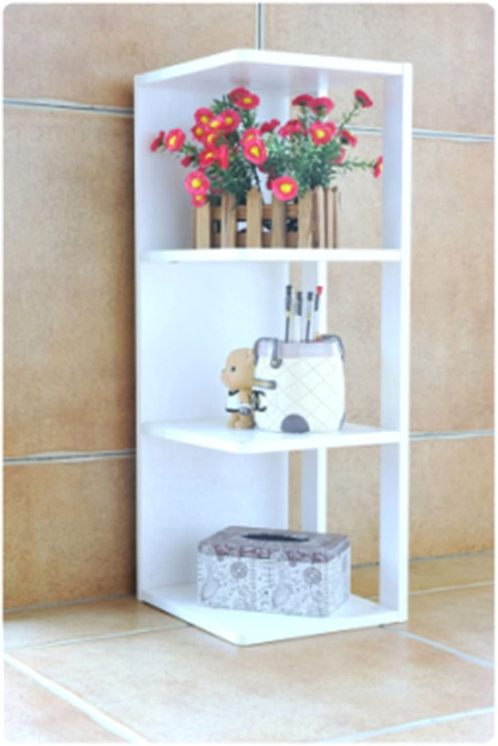 Bookshelf,Creative Multi Functional Storage Shelf Simple Home Storage Rack Bookcase-White 42x26x125cm(17x10x49)