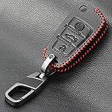 LLOOMMB Porte-clés for Coque de télécommande de télécommande Porte-clé de Voiture, Cuir à 3 Boutons, pour Audi A1 S1 A3 S3 A4 A6 RS6 TT Q3 Q7 2006 2007 2008 2009-2013, Ligne Rouge