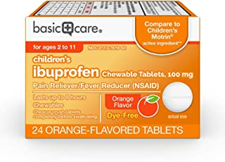 Basic Care Children's Ibuprofen Chewable Tablets, 100 Mg, Orange Flavored, 24 Count