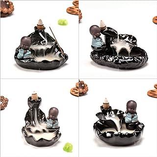 セラミック還流香り高いタワーバーナー - あなたが睡眠を助けるためにピアノを弾く、お茶を飲む、チャット、ヨガ、瞑想僧侶像のライブ雰囲気に使用される蓮の葉の僧侶像