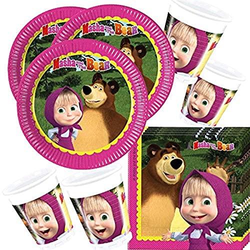 Lote de Cubiertos Infantiles'Masha y el Oso' (16 Vasos,16 Platos y 20 Servilletas) .Vajillas y Complementos. Juguetes para Fiestas de Cumpleaños, Bodas, Bautizos y Comuniones.