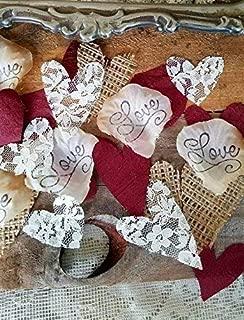 Burlap and Lace Silk Rose Petals Burgundy, Wedding Table Confetti