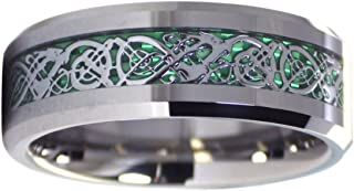 Fantasy Forge Jewelry Tungsten Green Celtic Dragon Ring 8mm Mens Womens Handfasting Wedding Band Sizes 6-17