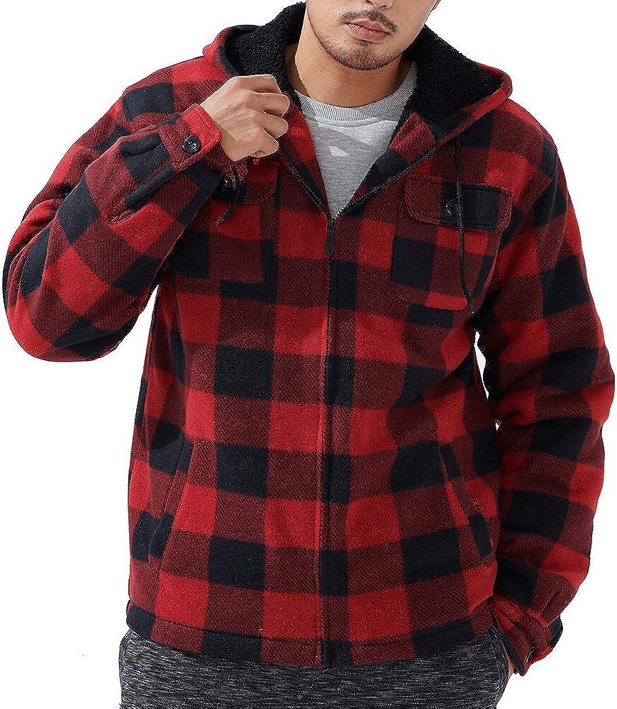 Men's Winter Jacket Heavyweight Fleece Hoodies Full Zip Up Sherpa Lined Fleece Sweatshirt