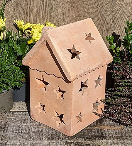 Haus 25 cm hoch, beleuchtbar aus Terracotta Deko Garten Weihnachten Stern Motiv Lebkuchenhaus Windlicht
