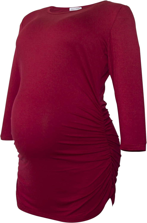 Smallshow Damen Schwanger Mutterschaft Oberteile 3//4 /Ärmel Umstandsshirts Schwangere Tops Schwangerschafts Umstandstop 3er Pack