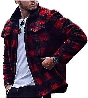 HEFASDM Mens With Zips Plaid Fashion Turn-down Collar Warm Parka Jackets