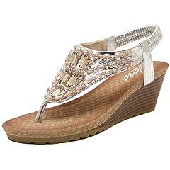 cd246d12aad8 Womens Wedge Sandals Thong Platform Beaded Slingback Bohemia Summer ...