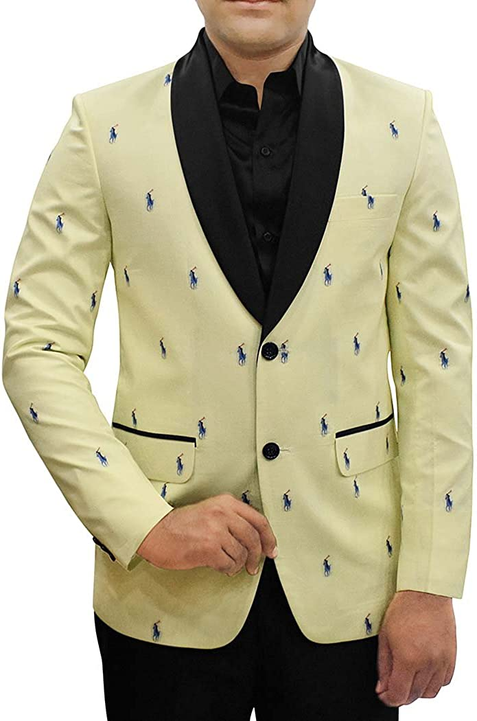 INMONARCH Mens Slim fit Casual Yellow Cotton Blazer Sport Jacket Coat Polo Rider Print SB16099