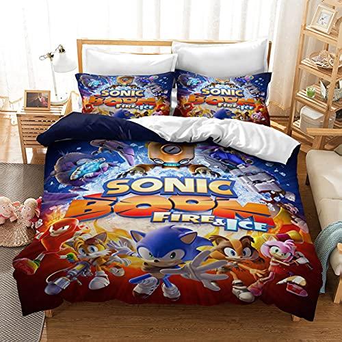Juego de ropa de cama infantil de 3 piezas con diseño de Sonic The Hedgehog, funda nórdica con cremallera y 2 fundas de almohada (A2, doble 200 x 200 cm + 50 x 75 cm x 2)
