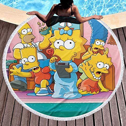 Simp-Son - Toalla de playa redonda de microfibra para niños, mujeres, hombres, niñas y niños
