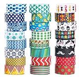 Mooker Set di 24Rotoli di Nastro Washi Tape, Nastro Adesivo Decorativo per Artigianato, per Fai-da-Te e per Incartare Regali