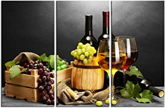 LevvArts -3 Piece Canvas Wall Art Red Wine Grape Still Life Painting Canvas Prints Modern Kitchen Bar Wall Decor Food Artwork Stretched and Framed Ready Hang- 16x32inchx3pcs