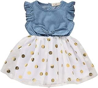 Children Kids Girls Tutu Denim Dresses Cute Ruffle Bow Tulle Dot Print Dresses Princess Party Swing Dresses 0-4Y Swiusd