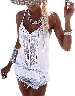 OrientalPort Canottiera da donna senza maniche con scollo a V, camisole estive in pizzo, elegante camicia