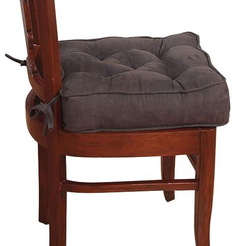 Homescapes Coussin de Chaise ou Réhausseur en 100% Cuir Velours de 40 x 40 x 10 cm de Couleur Gris