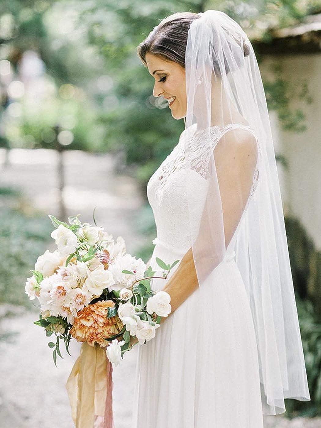 Edary Wedding Bridal Veil with Comb White Cut Edge Veils Drop Veil Wedding Elbow Length Veil 1 Tier Tulle Bridal Hair Accessories for Bride and Bridesmaids
