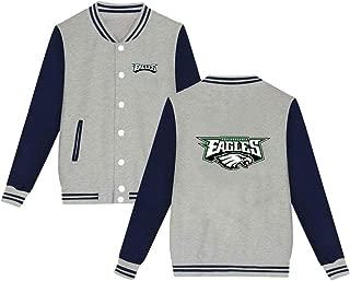 Philadelphia Eagles Jacket Men Women Slim Fit Varsity Baseball Jacket Bomber Coat,Black,