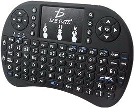 LEDMOMO Mini 2,4GHz Wireless QWERTY Teclado con Touchpad Air Fly Ratón 92de Key Fondo Teclados Touch Pad para Smart TV Android TV Box PC Windows (Negro)
