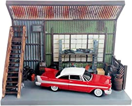 1958 Plymouth Fury Red with Darnell's Garage Scenic Display Diorama from Christine (1983) Movie 1/64 Diecast Model by Autoworld AWSD001