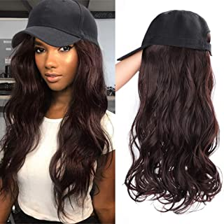 ENTRANCED STYLES Baseball Hats with Hair Attached for Women Synthetic Hair Baseball Cap with Hair Black Hat with Brown Hair Long Wavy Hair for Women Daily Party Use(4/33)