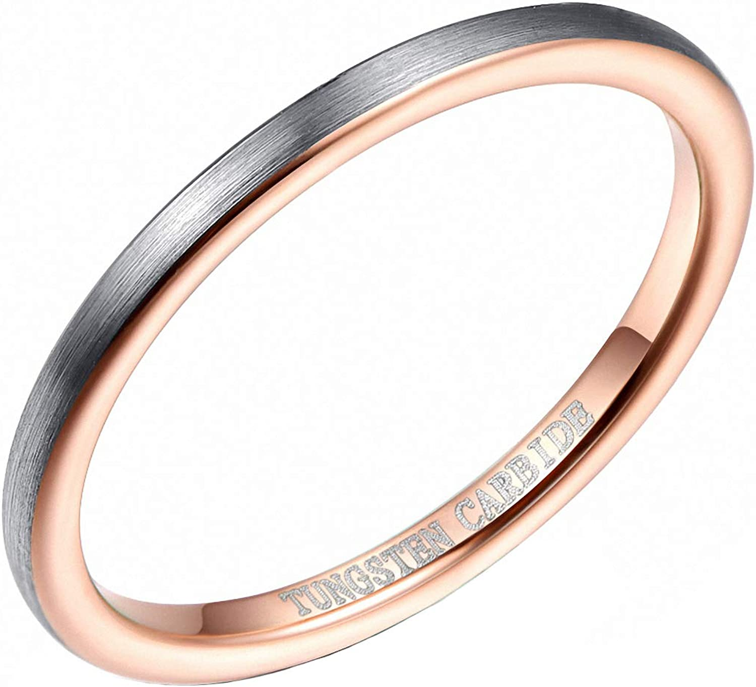 Zyhoi Max 66% OFF 2 mm Width Surface Brushed Shipping included S Rose Ring Inner Tungsten Gold
