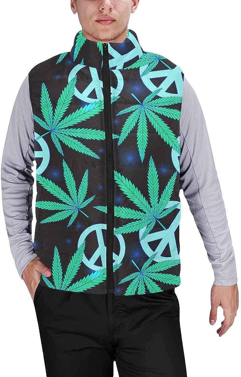 InterestPrint Men's Full-Zip Padded Vest Jacket for Outdoor Activities Camouflage Camo Military