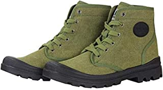Farm Blue Mens Hiking Boots - Rugged Outdoor Ranger Boot - Waterproof High Top Canvas Trekking Ankle Shoes for Men with Cushioned Insole with Arch Support & Rubber Sole