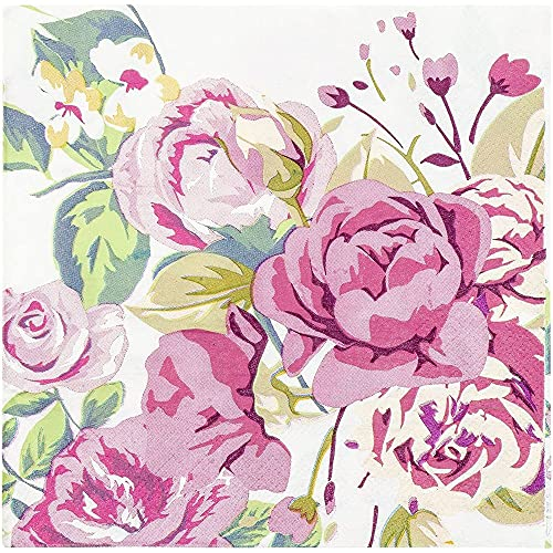 Vintage Floral Party Supplies, White Paper Napkins (6.5 x 6.5 In, 150 Pack)