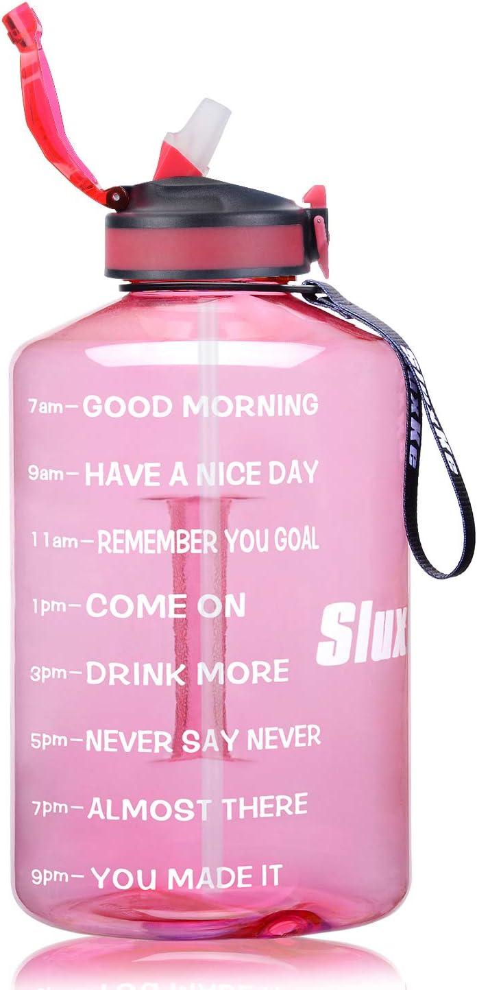 Sluxke Botella de deporte de 2,2/3,78 l, botella de agua grande, sin BPA, antigoteo, botella de agua para gimnasio, A2-rosa claro, 2l