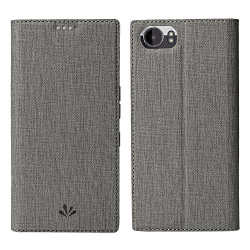 Feitenn BlackBerry Keyone Premium PU Leather Flip Wallet Case with Stand Kickstand Card Holder Magnetic Closure Clear TPU Bumper Full Cover Slim Leather Case for BlackBerry KEYone (Gray)