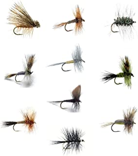 Fly Fishing Flies Set of 30 Dry Flies for Trout and Freshwater Fish - 10 Patterns - Adams, Griffith Gnat, Caddis, Grey Wulff, Pale Evening Dun, Green Drake, Bivisible, Ausable Wulff, Black Gnat, Humpy