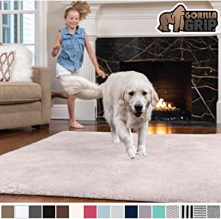 Gorilla Grip Original Faux-Chinchilla Area Rug, 2x8 Feet, Soft and Cozy High Pile Washable Carpet, Modern Runner Rugs for Floor, Luxury Carpets for Home, Nursery, Bed and Living Room, Pale Pink